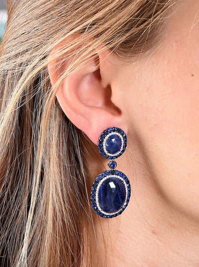 Sapphire Diamond White Gold Earrings