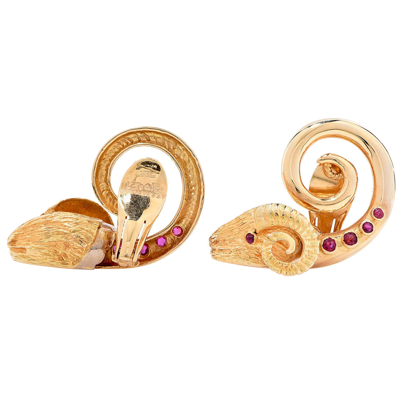 1960s Lalaounis Ruby Gold Ram's Head Ear Clips