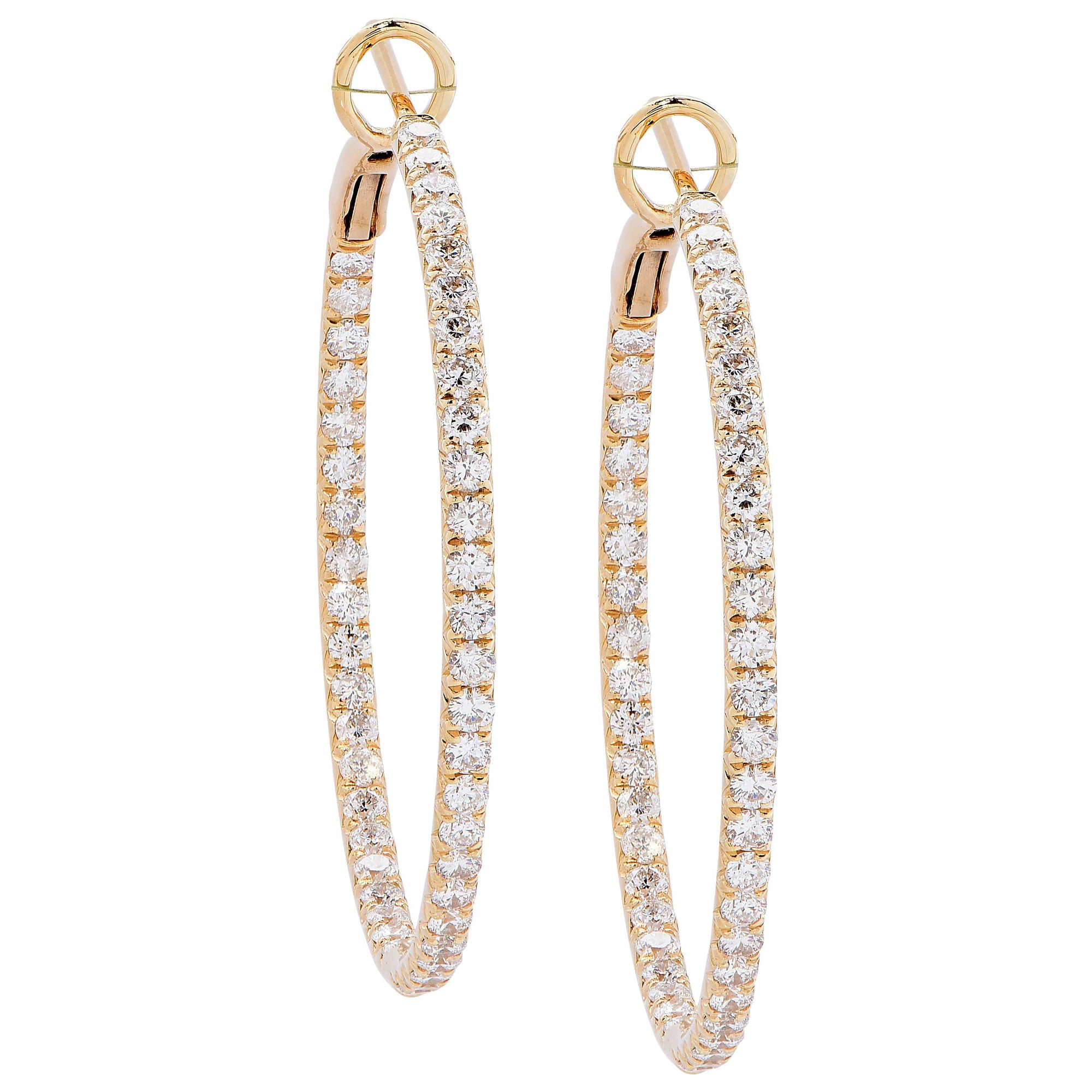 2 Carats Diamonds Yellow Gold Hoop Earrings