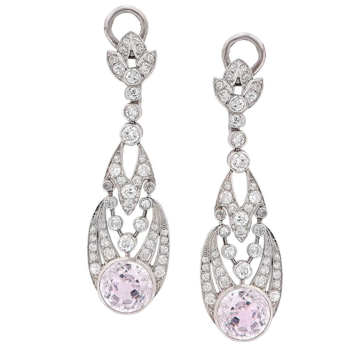 1900s Rose Quartz Diamond Platinum Ear Clips