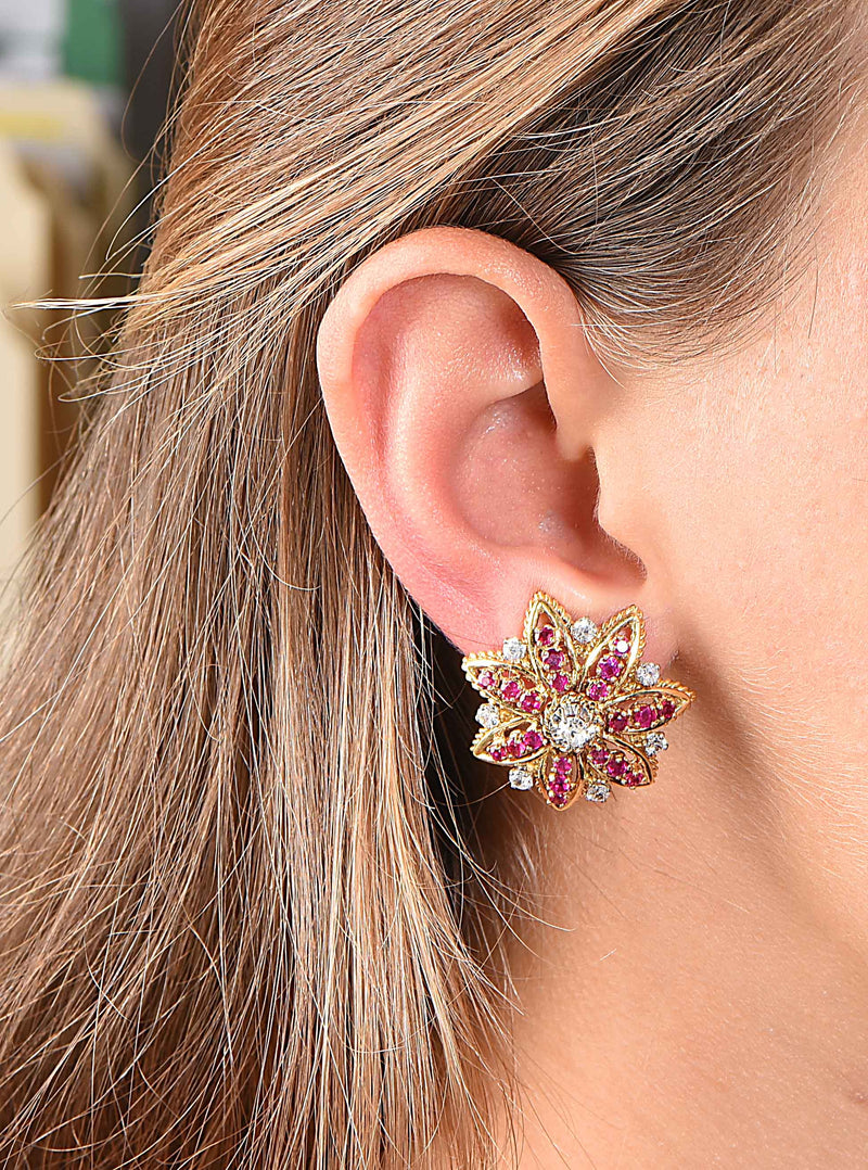 1970s French Ruby Diamond Flower Ear Clips