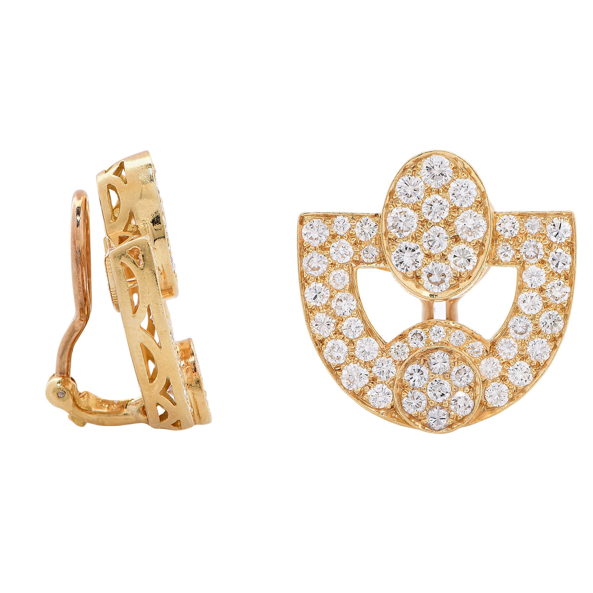 4 Carats Diamonds Yellow Gold Earrings