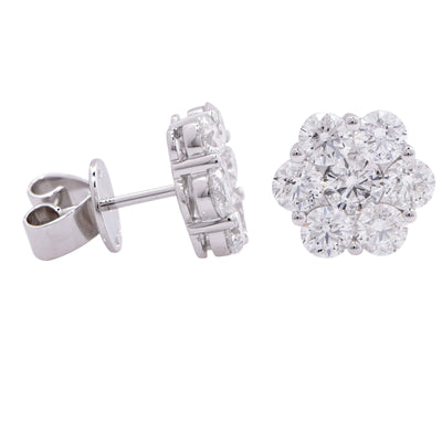 2.75 Carats Diamonds Gold Flower Earrings