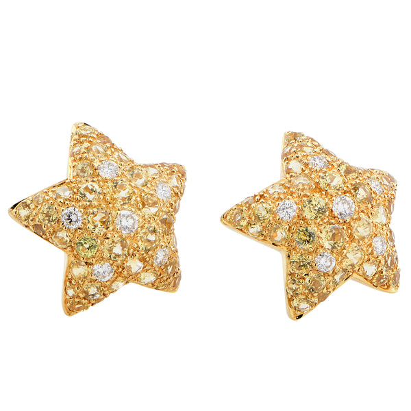 Starfish Motif Diamond and Citrine 18 Karat Yellow Gold Earrings