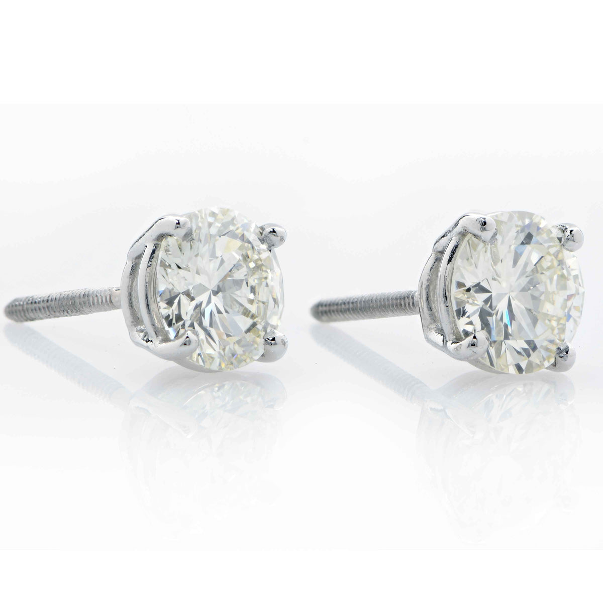 2.04 Carat Total Weight Diamond Stud Earrings