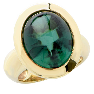 Aletto Brothers Natural Green Tourmaline 18 Karat Yellow Gold Ring