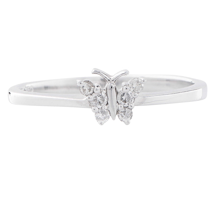 Petite Diamond White Gold Butterfly Ring