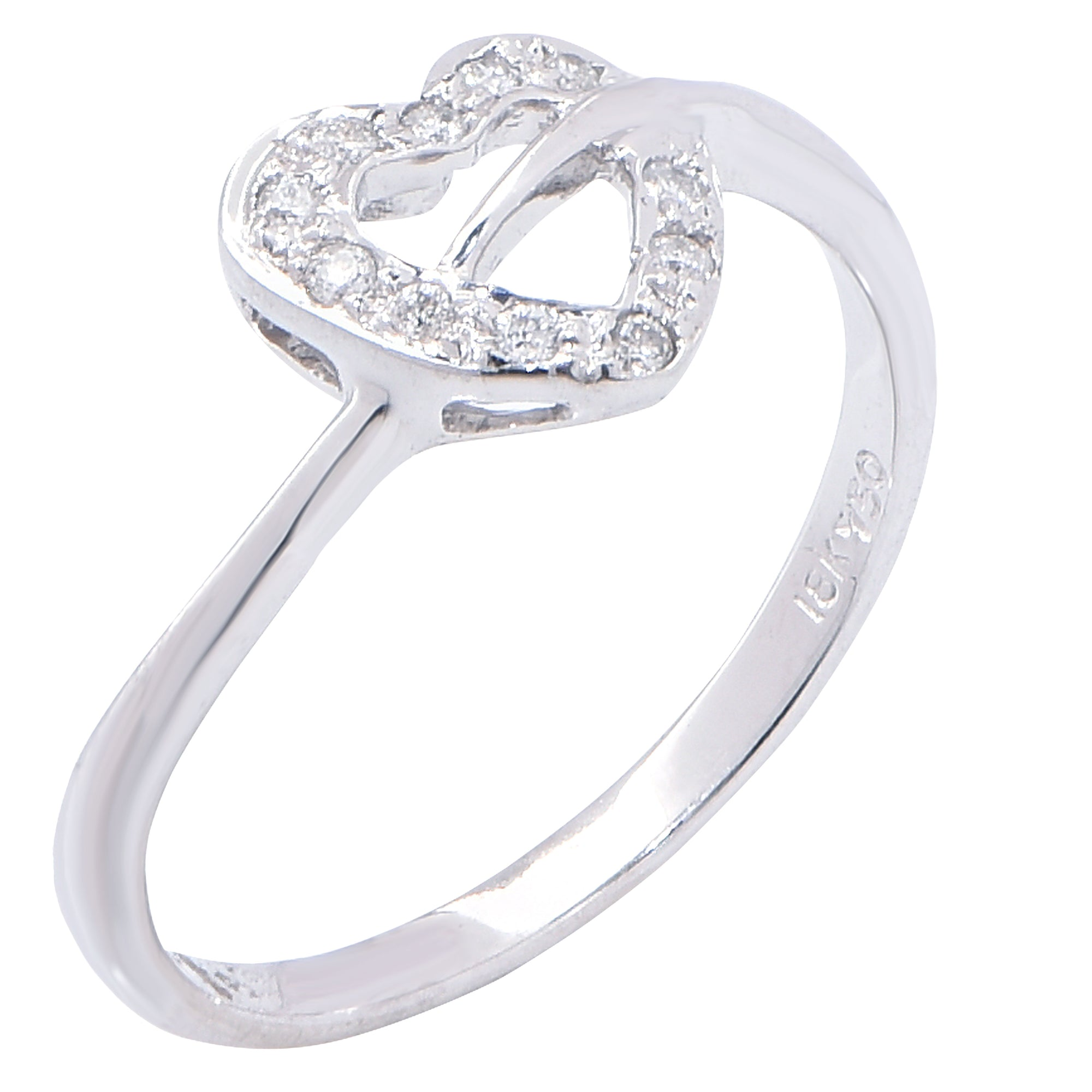 Petite Heart Diamond White Gold Ring