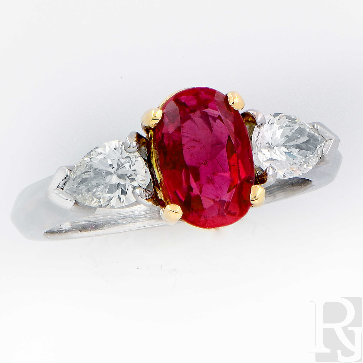 1.24 Carat Burma Ruby and Diamond Platinum Ring