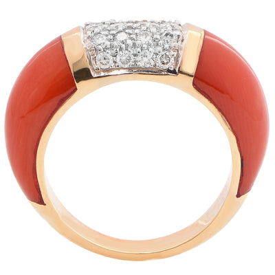 Coral Diamond Yellow Gold Ring