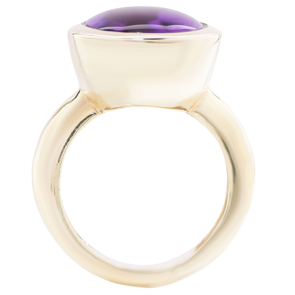 Aletto & Co. Natural 14 Carat Amethyst Cabochon Gold Bezel Set Ring