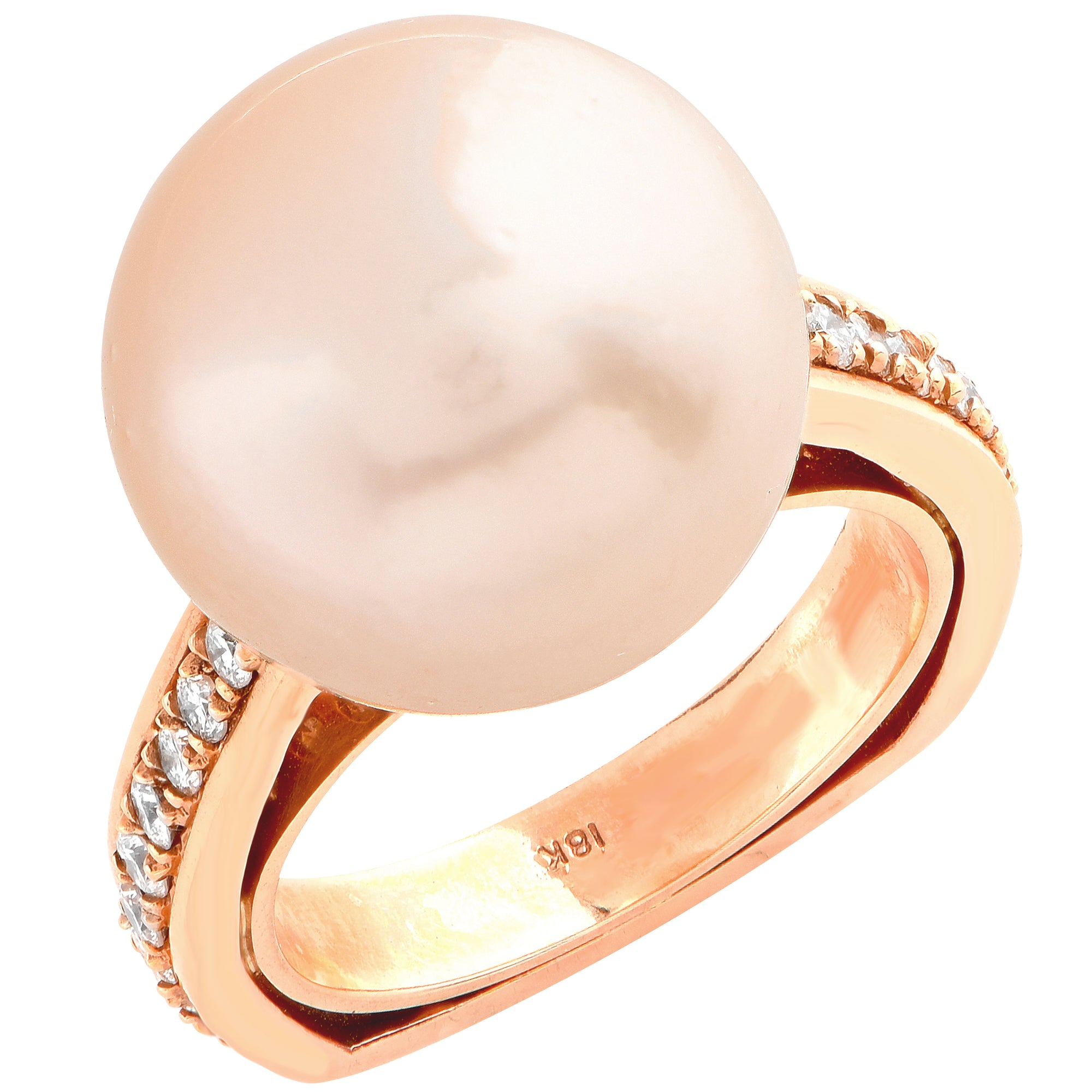 15mm Golden Pearl Diamond Rose Gold Ring