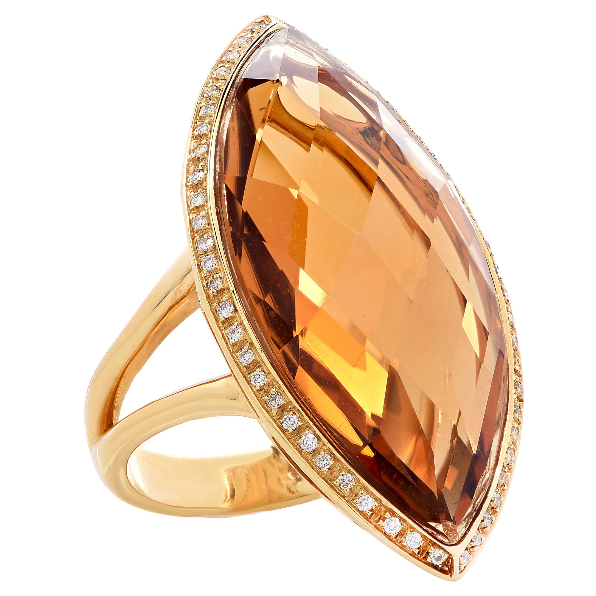 23 Carat Natural Citrine Diamond Yellow Gold Ring