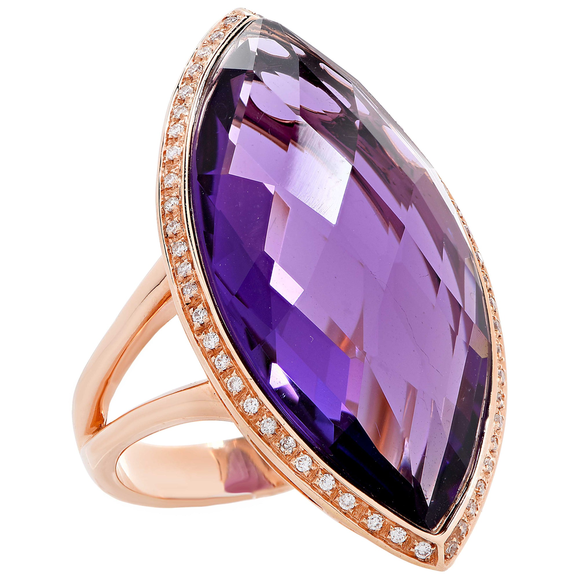 23 Carat Natural Amethyst & Diamond 18 Karat Rose Gold Ring
