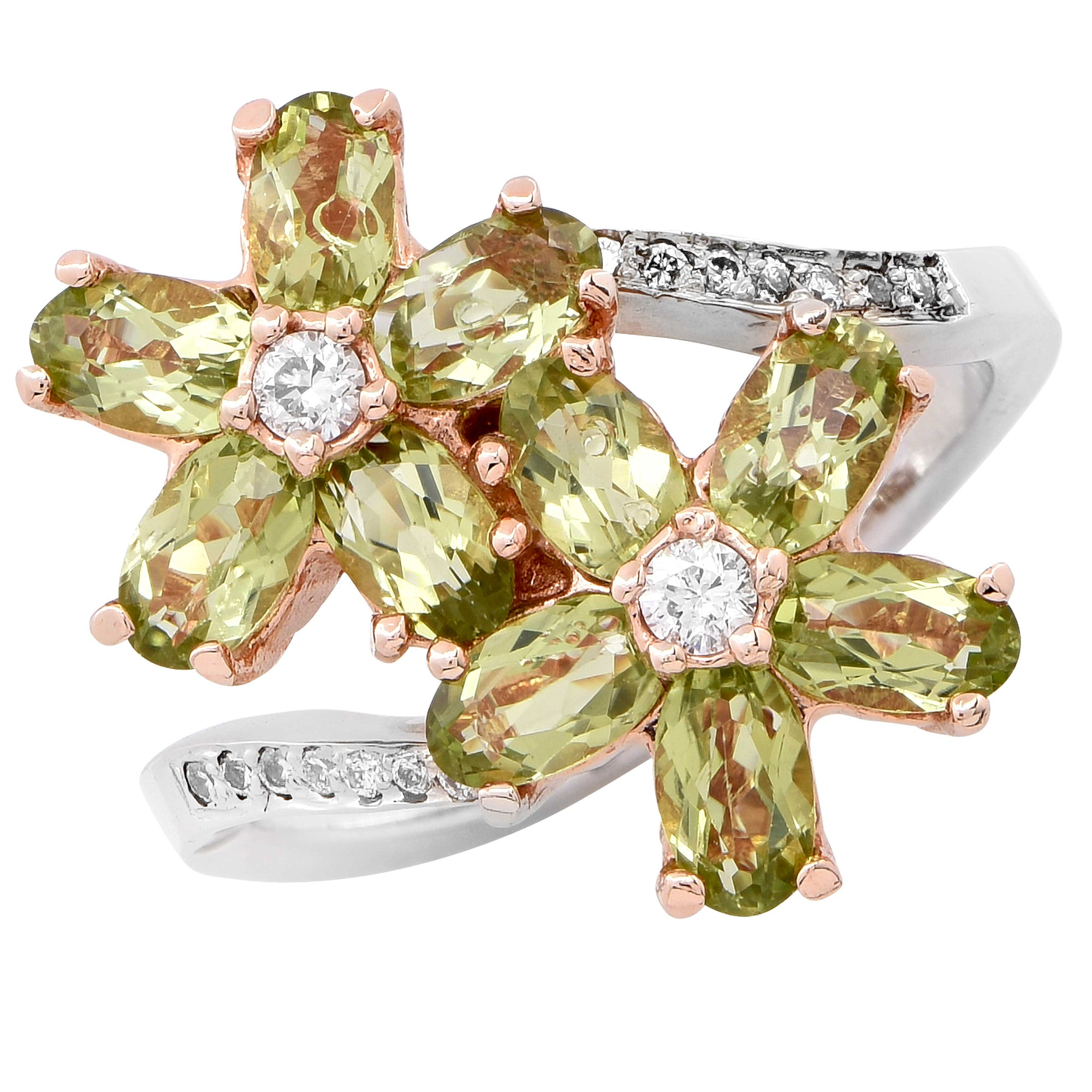 Peridot and Diamond Flower Ring