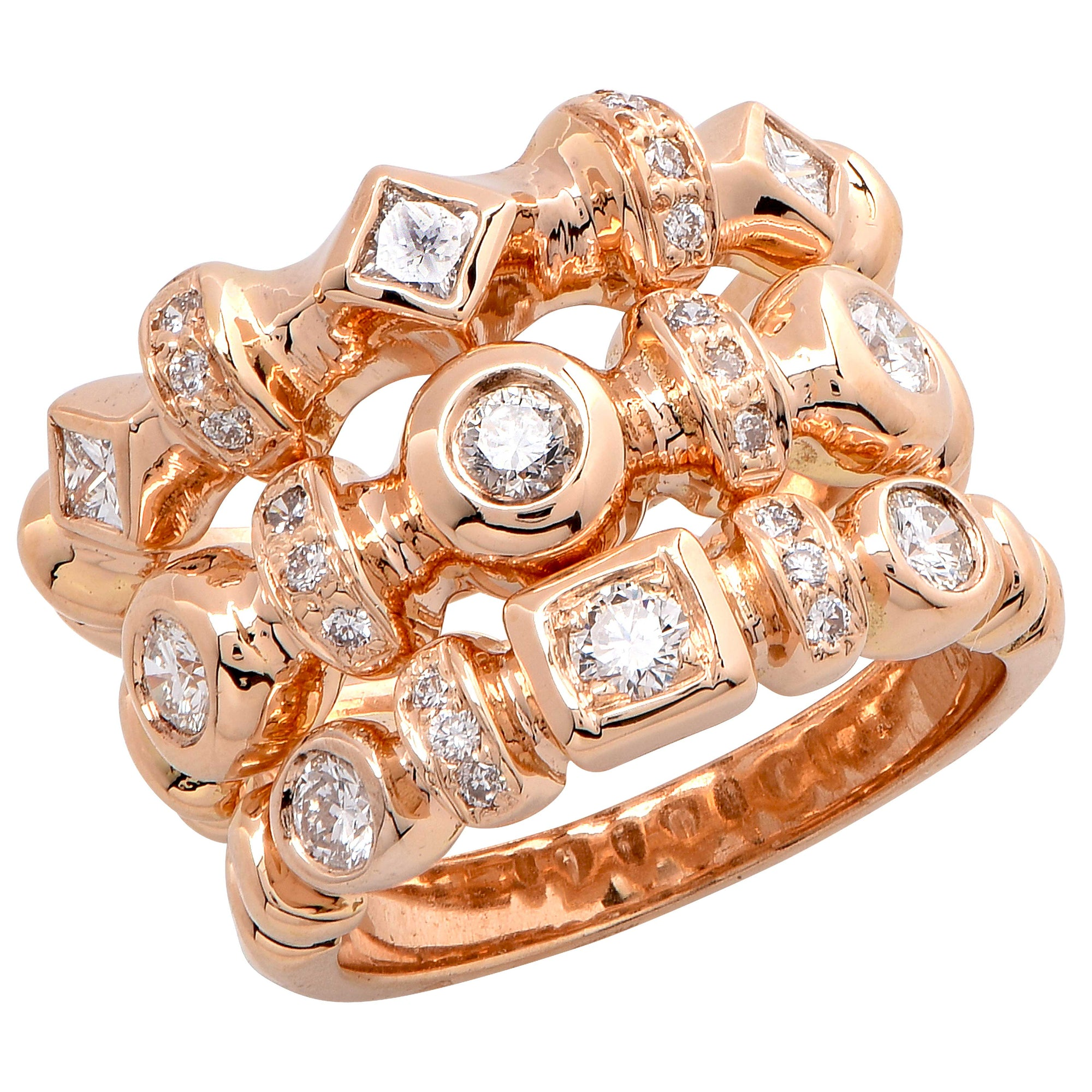 Set of Three Diamond Rose Gold Rings
