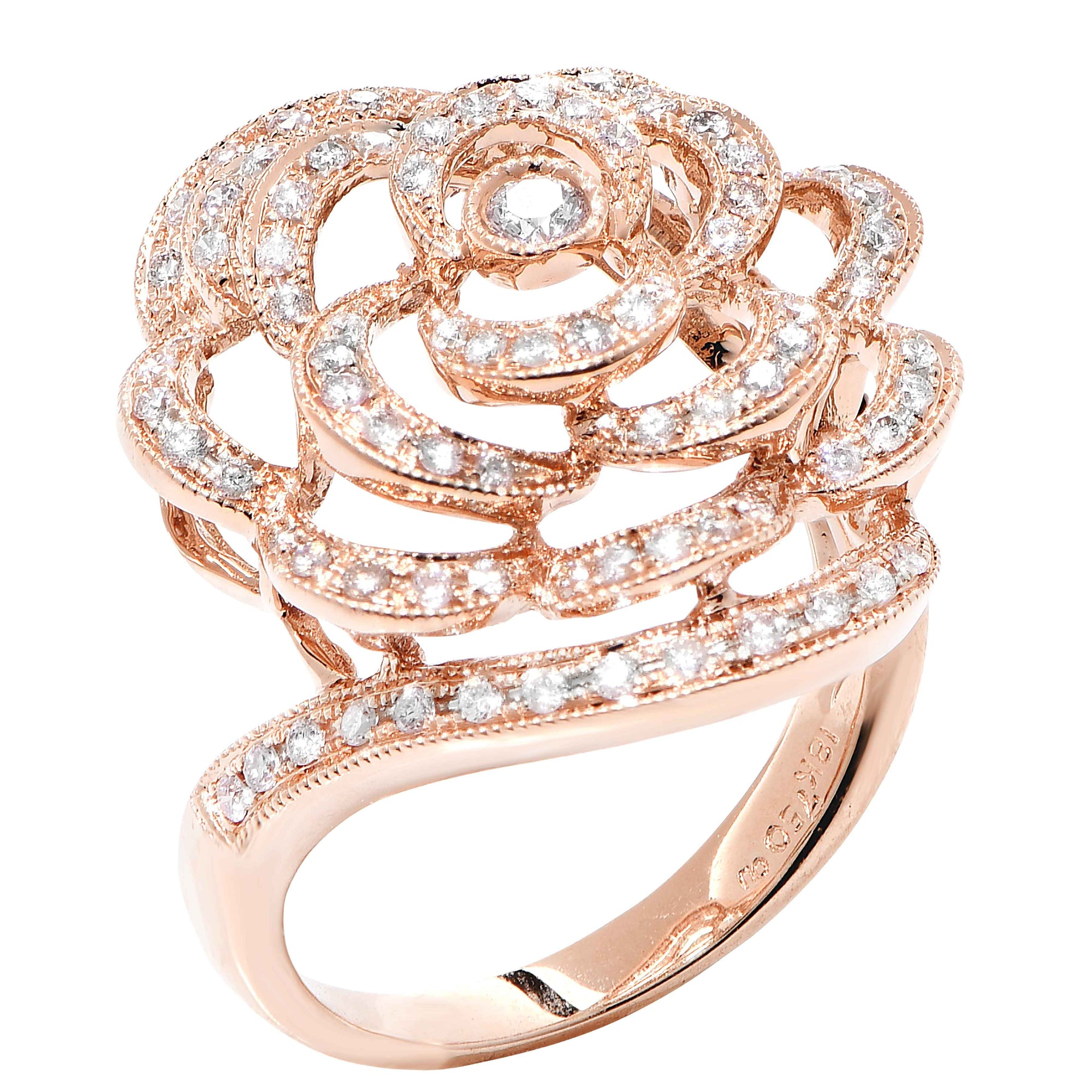 Rose Design Diamond Rose Gold Ring