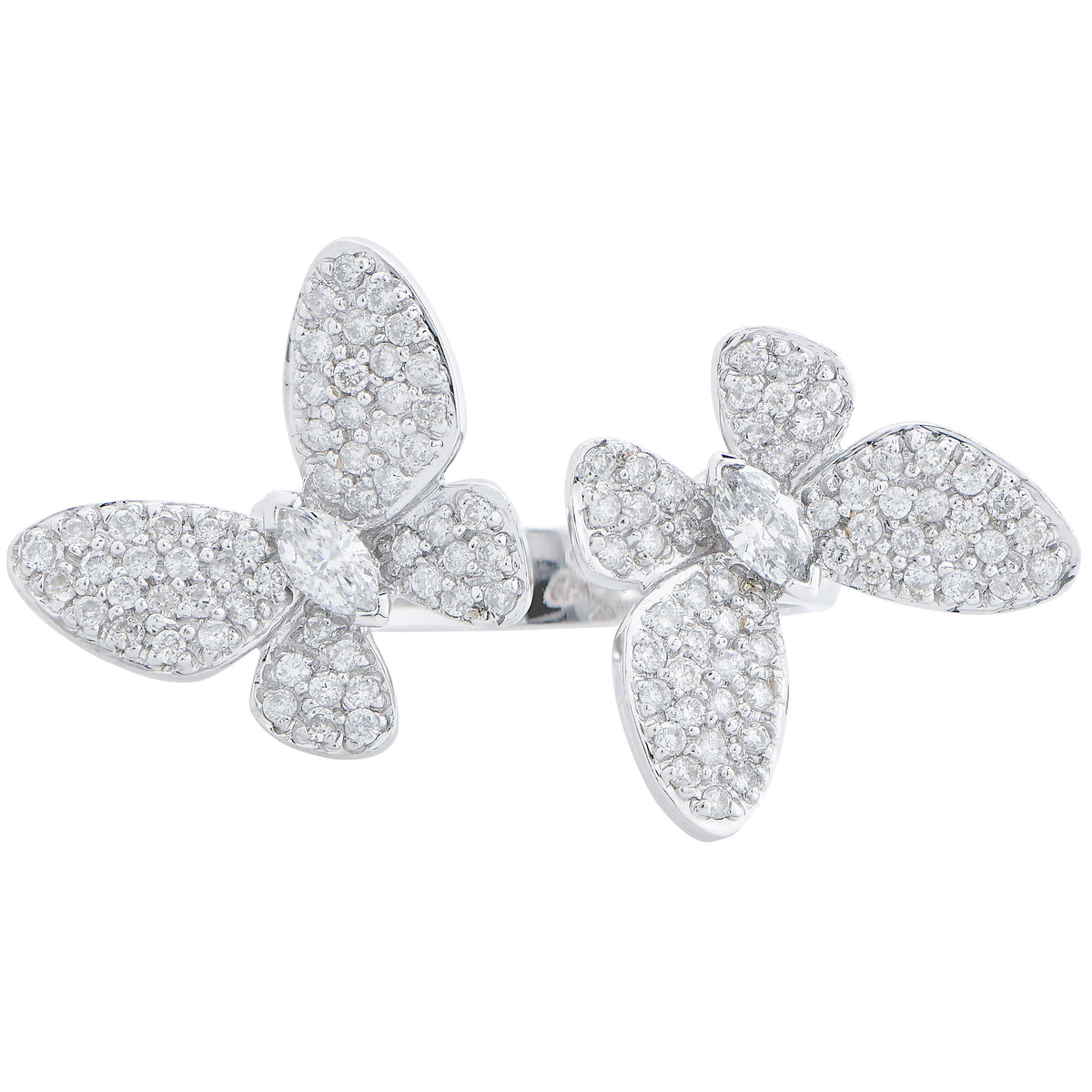 Butterfly Motif Diamond 18 Karat White Gold Ring