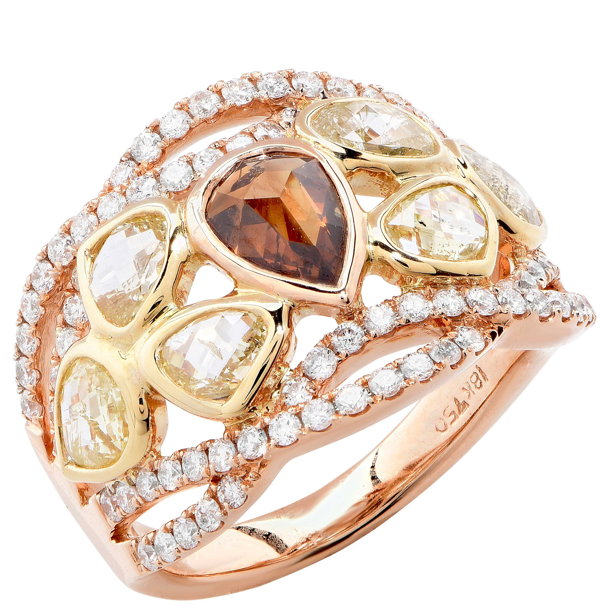 3.08 Carat Fancy Colored Diamond rose gold Ring