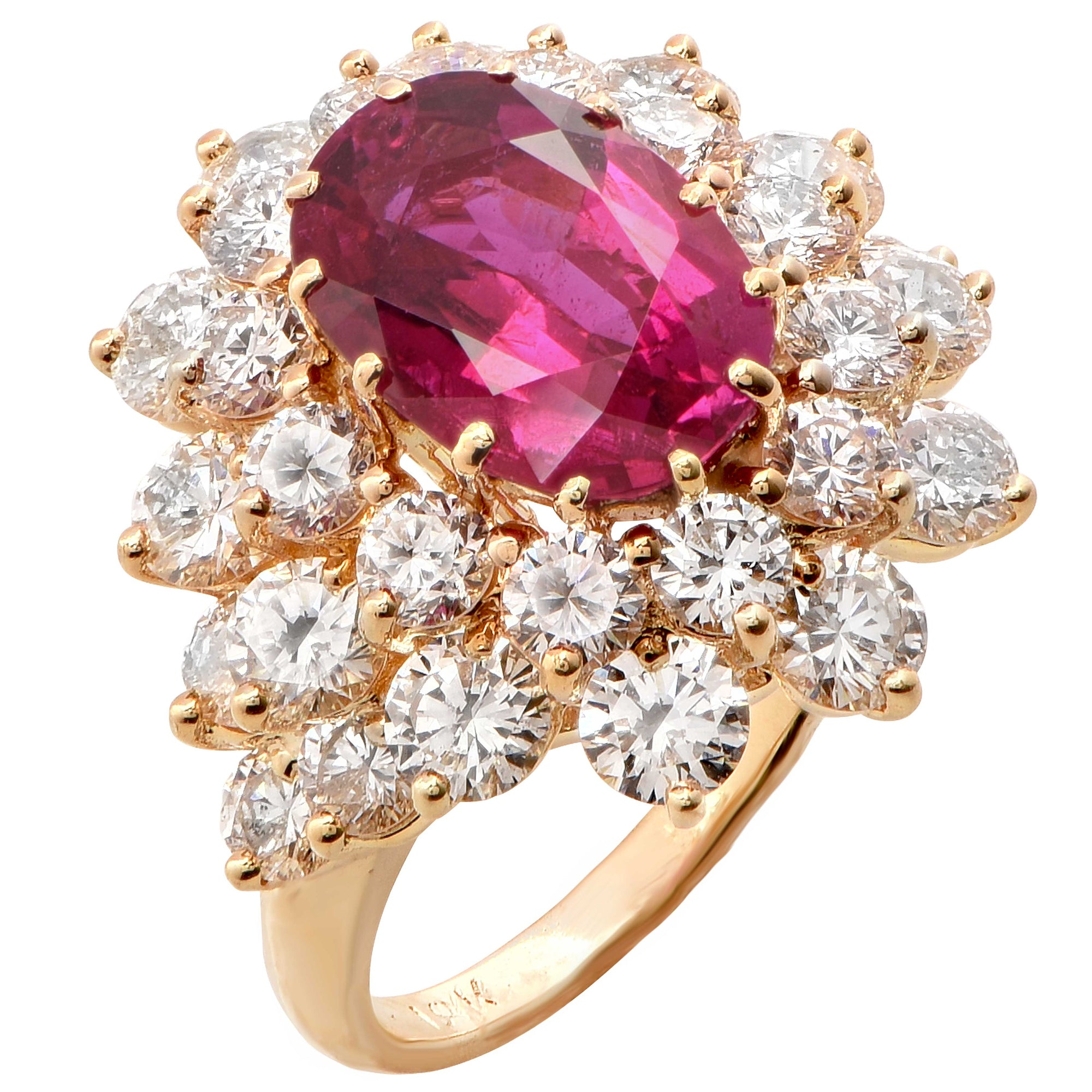 3.70 Carat AGL No Heat Burma Ruby and Diamond Ring