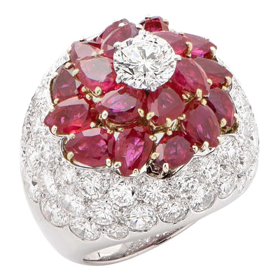 French Bombe Flowerhead 5 Carat Burmese Ruby and 7 Carat Diamond Platinum Ring
