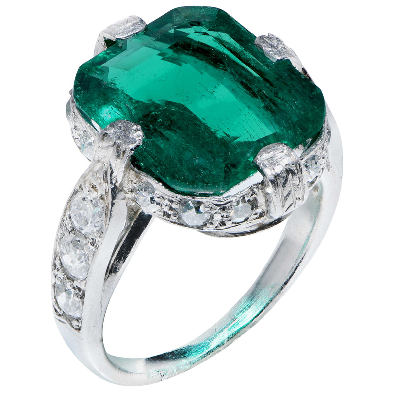 3.95 Carat Untreated Colombian Emerald Diamond Platinum Ring