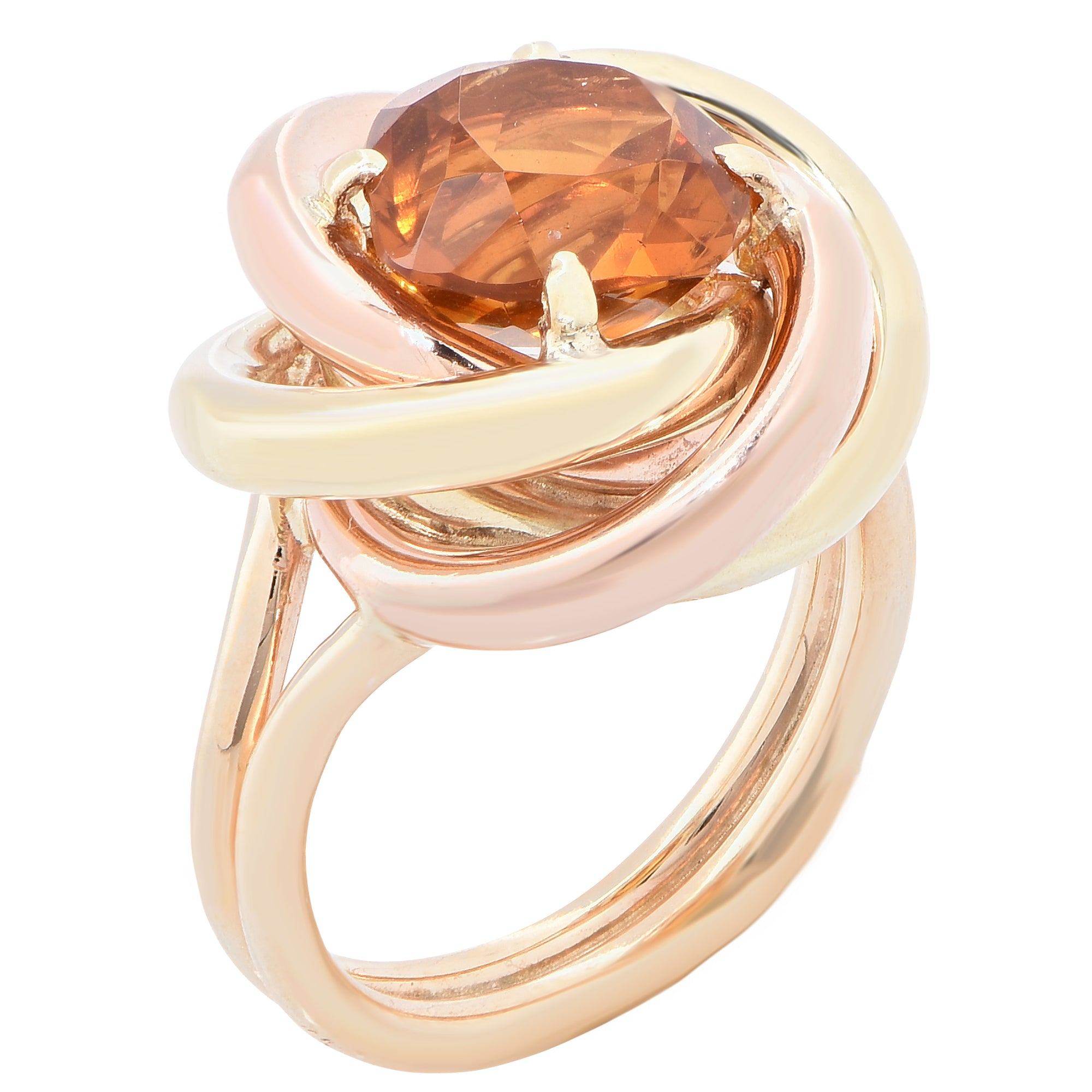 1940s Cartier Retro 2.75 Carat Citrine Love Knot Gold Ring