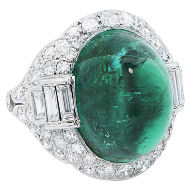 Art Deco 14.75 Carat Sugarloaf Cabochon Cut Colombian Emerald Diamond Ring