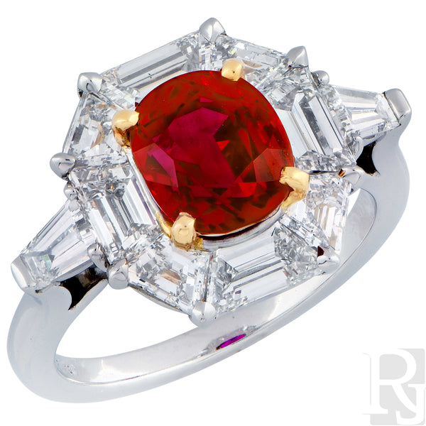 "Rare AGL Certified ""Classic"" No Heat Ruby Diamond Gold Platinum Ring"