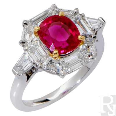 Rare AGL Certified Classic No Heat Ruby Diamond Gold Platinum Ring