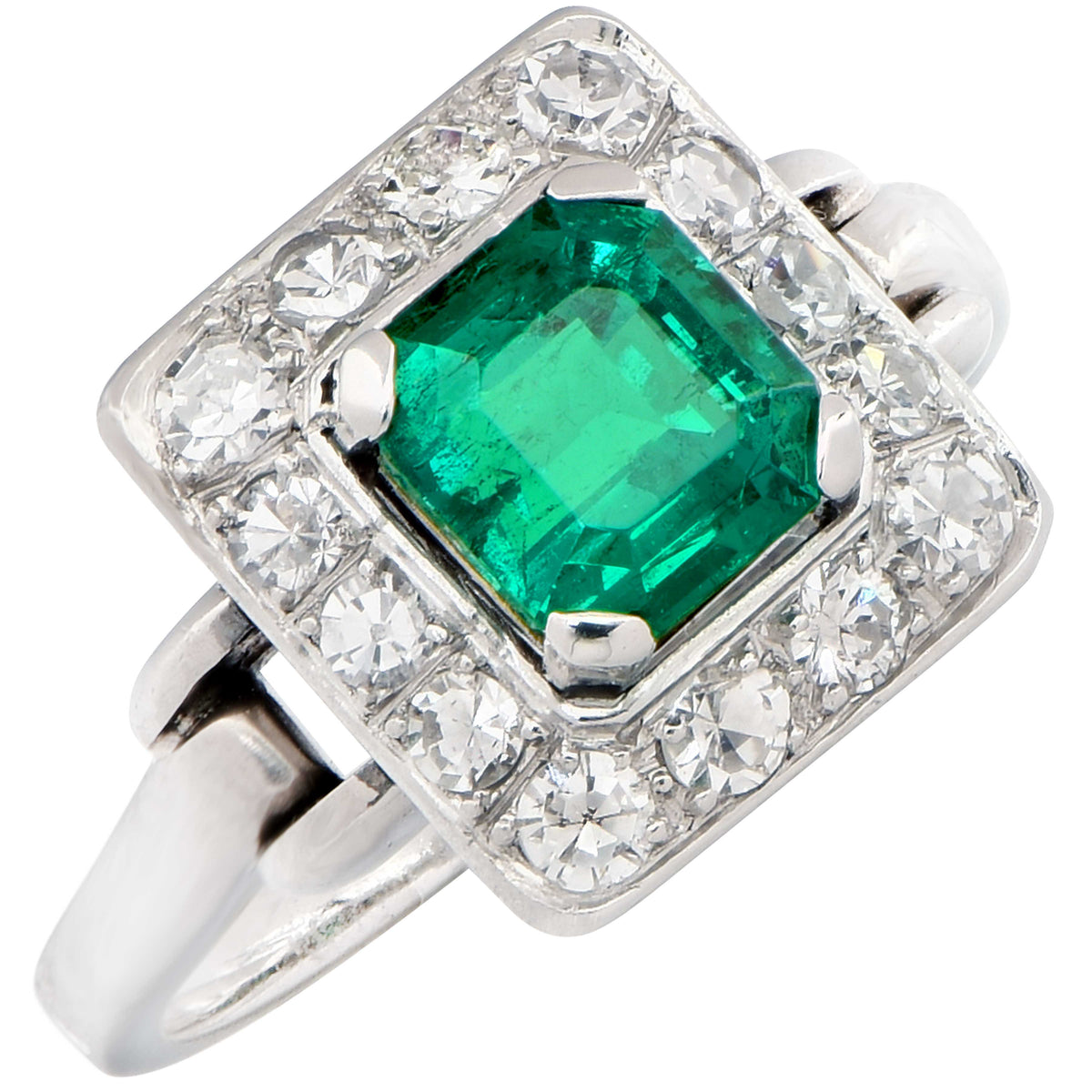 1.36 Carat AGL Colombian Emerald No Treatment Diamond Ring