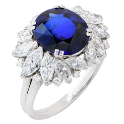 Harry Winston 5.78 Carat Natural Sapphire and Diamond Platinum Cocktail Ring