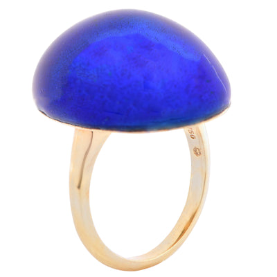 Carvin French Blue Enamel Bombe 18 Karat Yellow Gold Ring