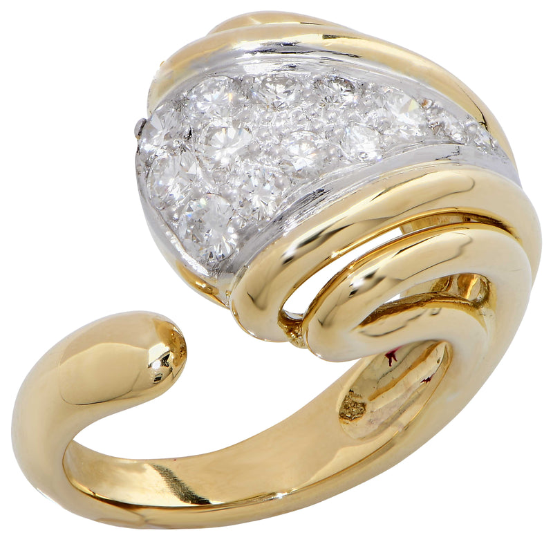Bombe Style Diamond 18 Karat Yellow Gold Ring