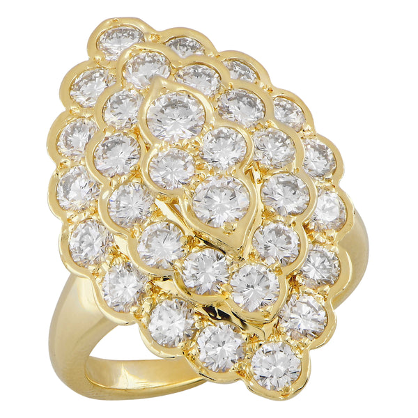 Van Cleef & Arpels Navette Shape Diamond Cocktail Ring in 18 Karat YG