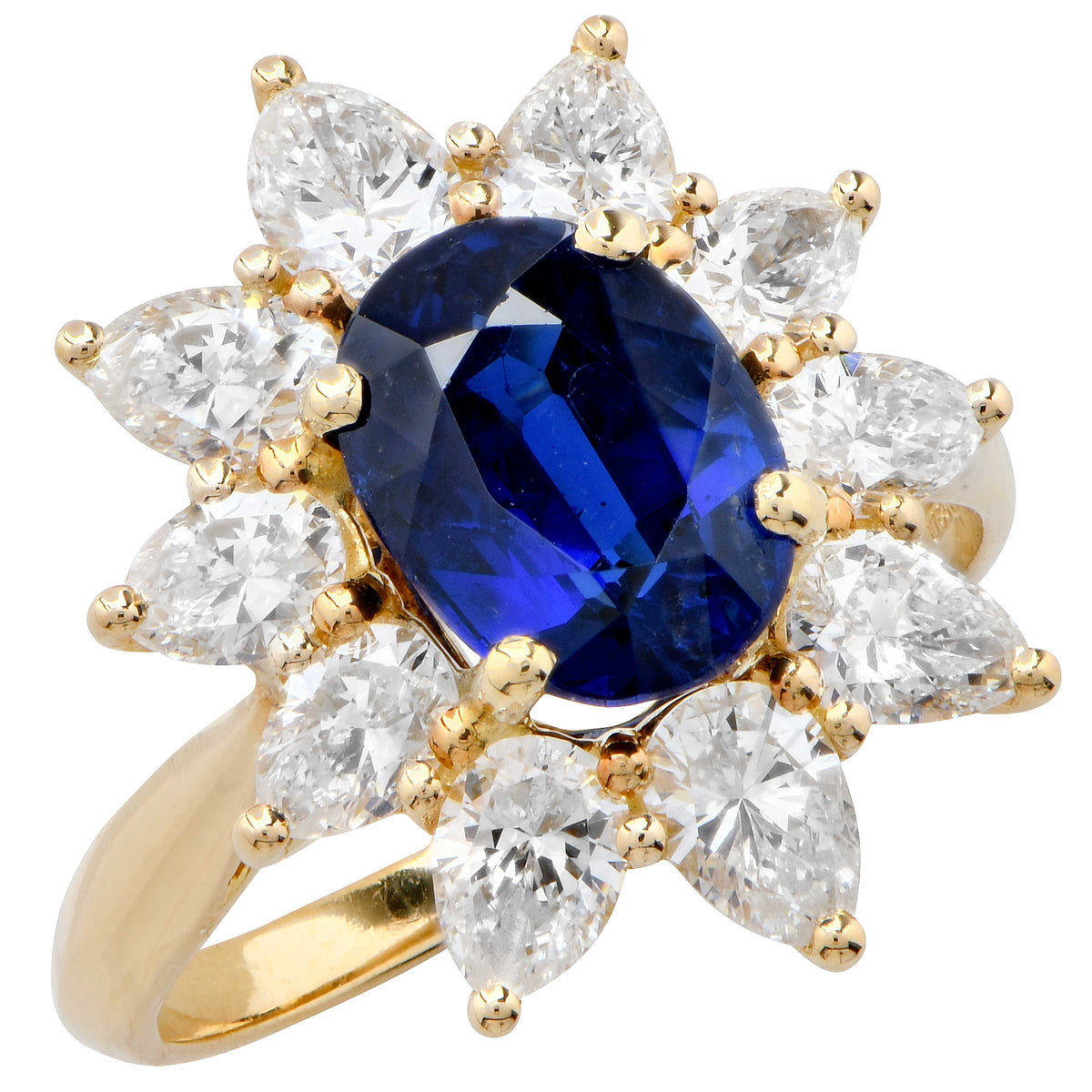 Asprey Sapphire and Diamond 18 Karat Yellow Gold Ring
