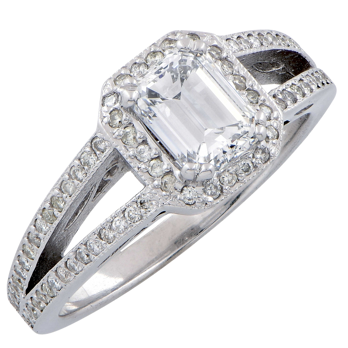 1.01 Carat GIA Graded D VVS2 Emerald Cut Diamond in 18 Karat White Gold Ring