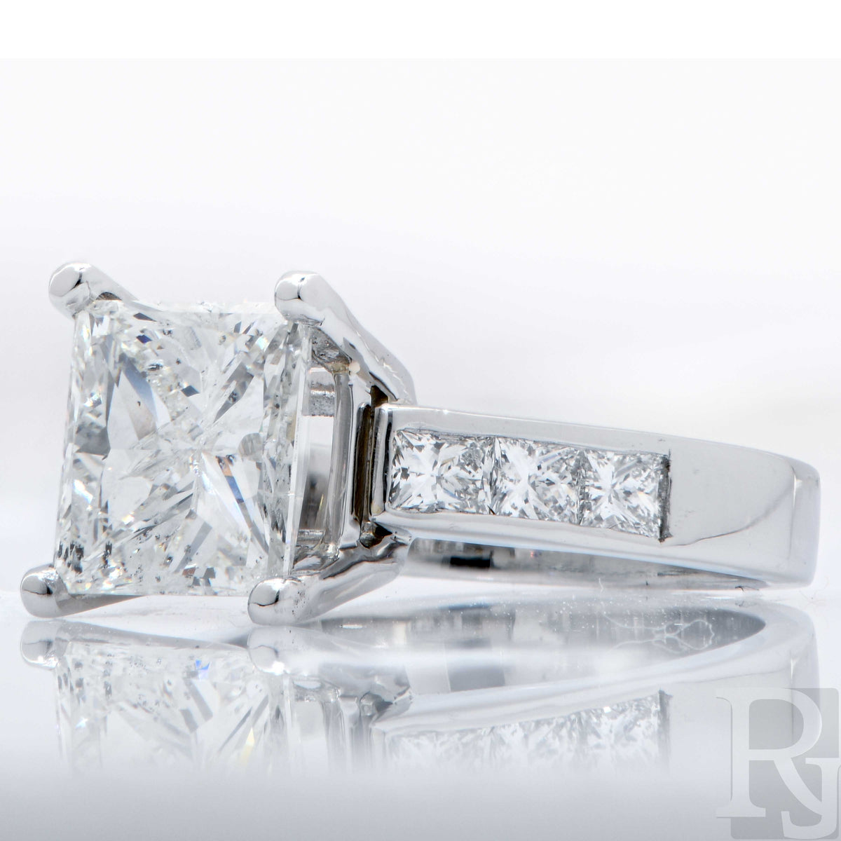 3 Carat Princess Cut Diamond H/I1 Platinum Engagement Ring