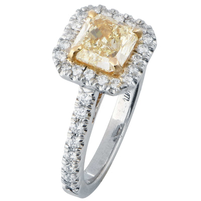 1.38 Carat Radiant Cut Yellow Diamond in Platinum Engagement Ring