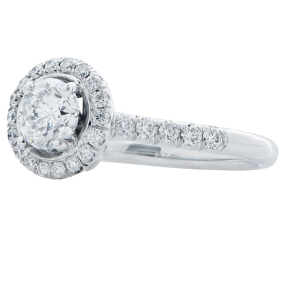 .70 Cts Round Brilliant Cut Diamond GIA Graded D Color, VS2 Clarity In 18Kt White Gold and Diamond Engagement Ring