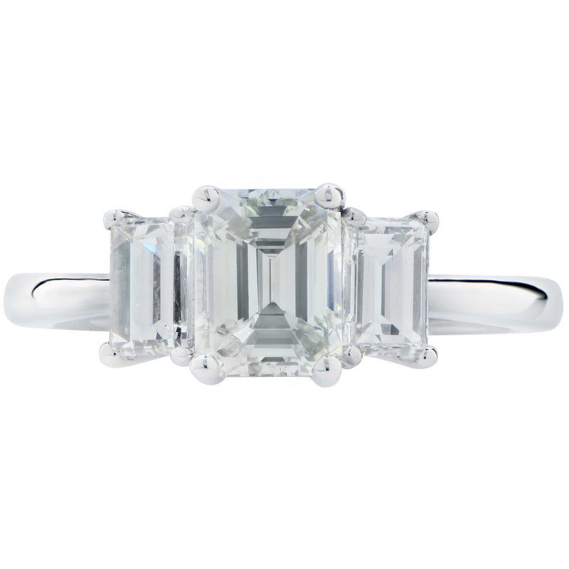 1.80 Carat Emerald Cut Diamond Platinum Engagement Ring
