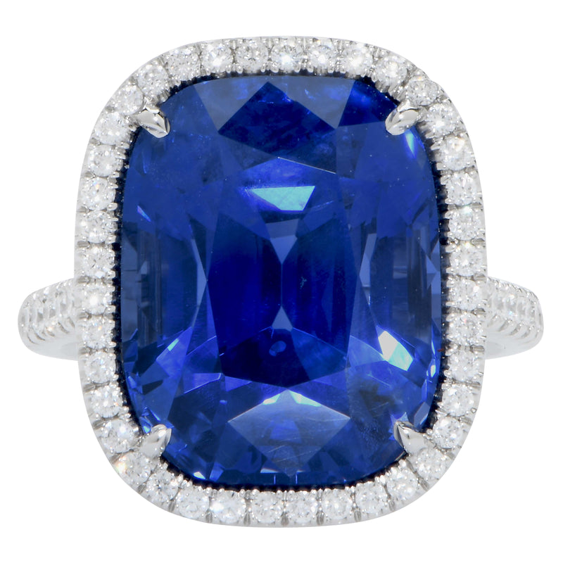 20.43 Carat AGL Graded Ceylon No Heat Cushion Cut Sapphire and Diamond Ring
