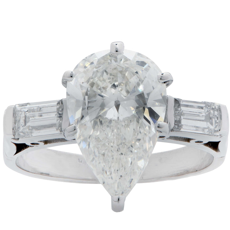2.53 Carat GIA Graded J/SI2 Pear Shaped Diamond Set in Platinum Mounting