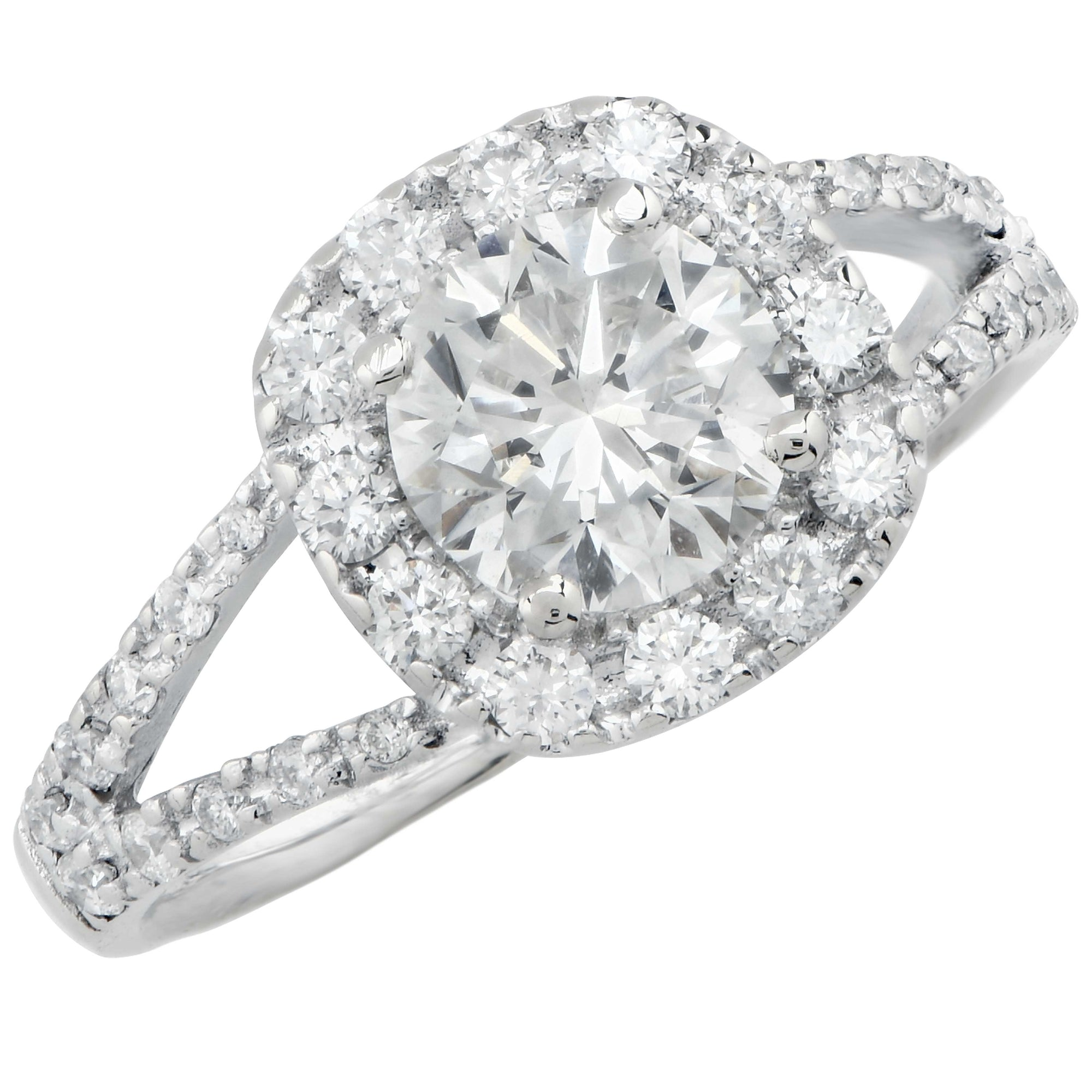 1.01 Carat Round Brilliant Cut GIA Graded J/SI1 18 Karat White Gold Engagement Ring