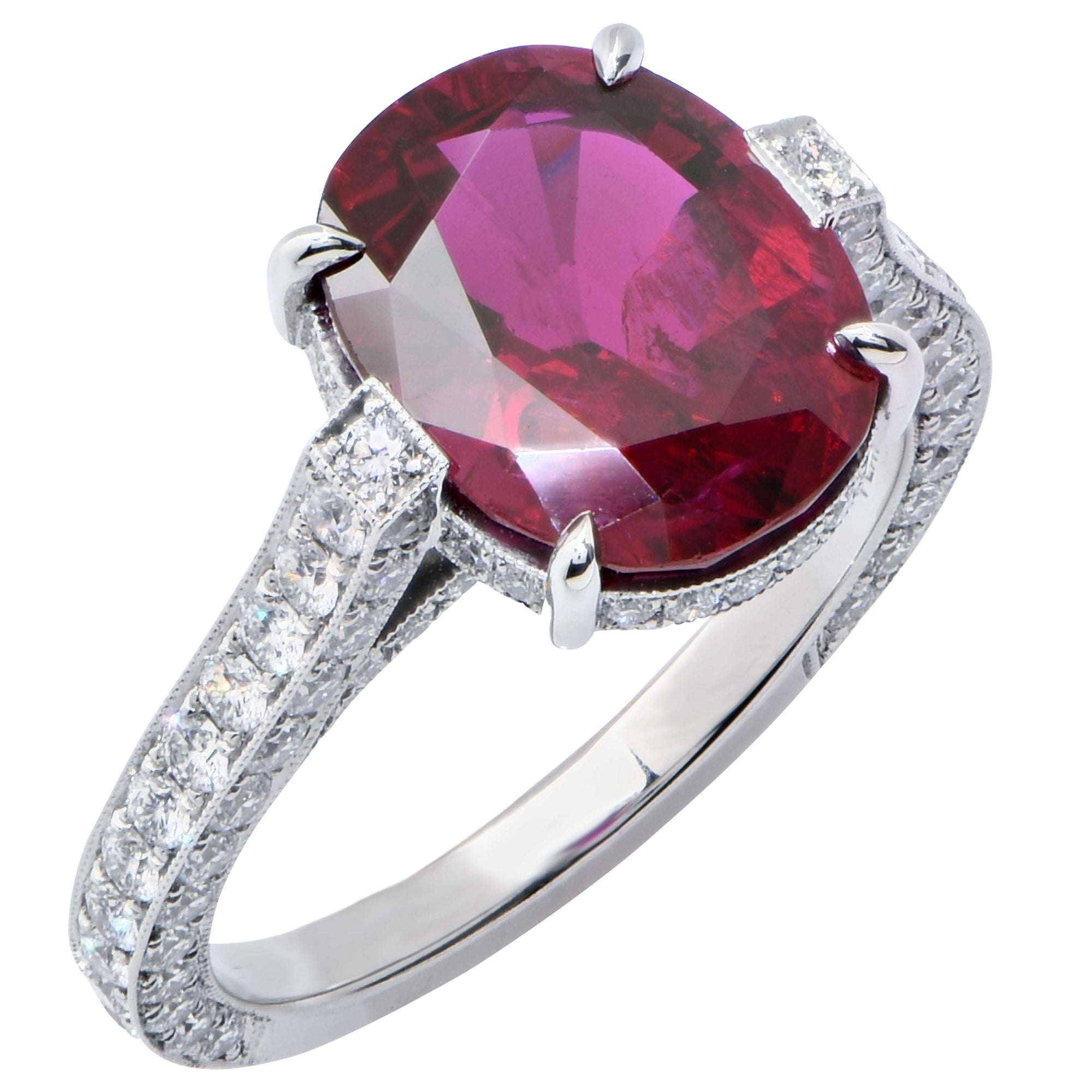 4 Carat AGL Graded No Heat Oval Ruby and Diamond Platinum Ring
