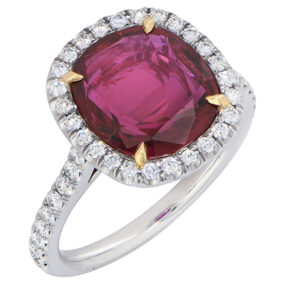 4 Carat AGL Graded  Ruby and Diamond Platinum Ring