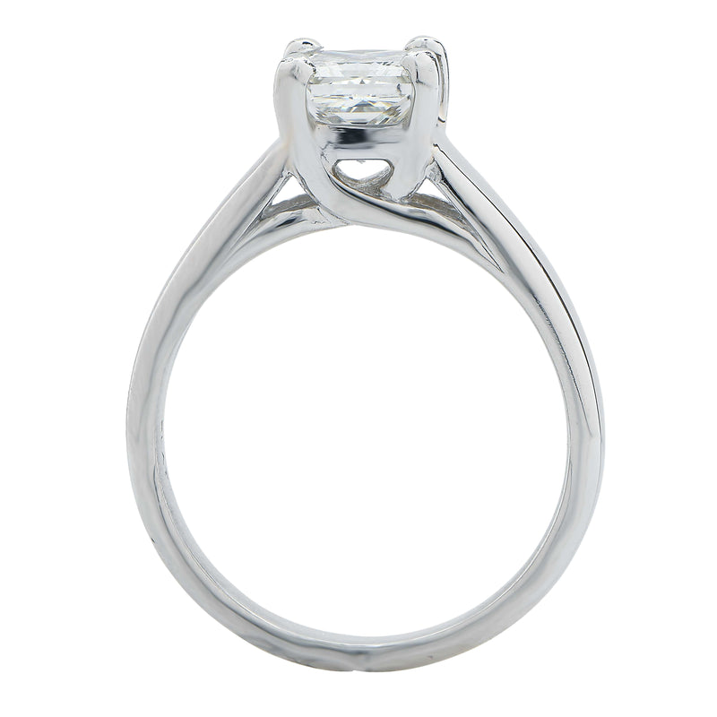 1.09 Carat Princess Cut Diamond GIA Graded J/SI1 Platinum Engagement Ring