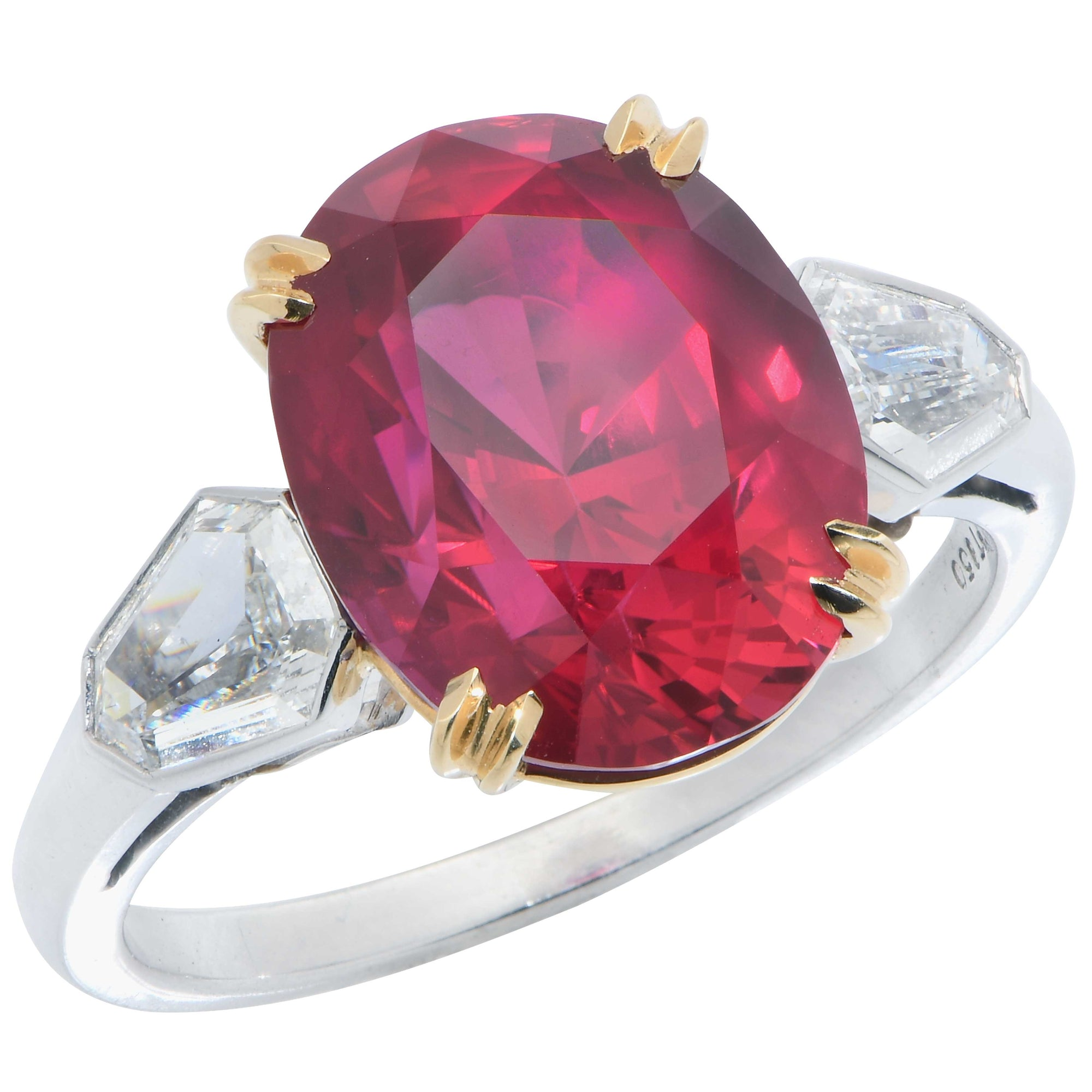 Mozambique Pigeon's Blood Ruby 7.47 Carat GRS Graded No Heat  and Diamond Ring