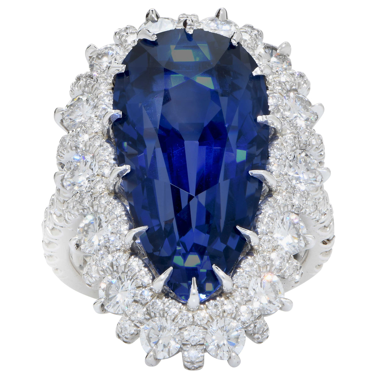 19 Carat AGL Graded Pear Shaped Sapphire and Diamond Ring
