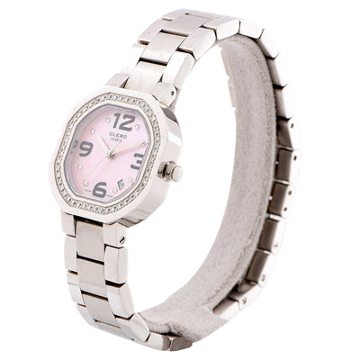 Clerc Lady's Stainless Steel Diamond Bezel Wristwatch